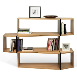 One Oak + Black Modern Shelf Triple Module - Set of Three Shelves