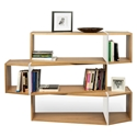 One Oak + White Modern Triple Shelf Module - Set of 3 Shelves by TemaHome