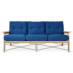 Gus* Modern Oskar Contemporary Sofa in Stockholm Cobalt Fabric Upholstery With Solid Wood Frame And Metal Accents