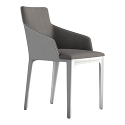 Modloft Black Oxford Dining Chair in Gray Denim Fabric with White Recycled Leather