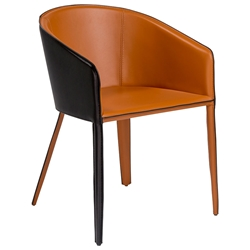 Pablo Modern Arm Chair in Cognac + Black