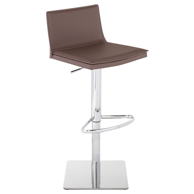 Palma Mink Tone Leather + Chromed Steel Modern Adjustable Height Bar + Counter Stool