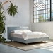 Gus* Modern Parcel Platform Bed in Stockolm Celeste Fabric - Room Setting