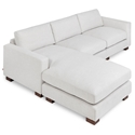 Gus* Modern Parkdale Modern Bi-Sectional Sofa in Cambie Parchment Fabric Upholstery with Solid Wood Feet