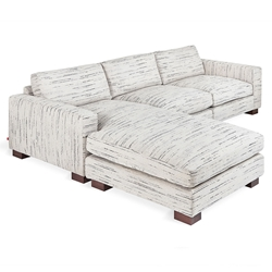 Gus* Modern Parkdale Contemporary Bi-Sectional in Luna Pearl Fabric Upholstery with Solid Wood Feet