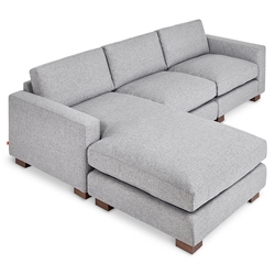 Gus* Modern Parkdale Contemporary Bi-Sectional Sofa in Parliament Stone Fabric Upholstery with Solid Wood Feet