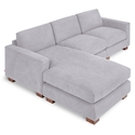 Gus* Modern Parkdale Contemporary Bi-Sectional Sofa in Vintage Alloy Fabric Upholstery with Solid Wood Block Feet