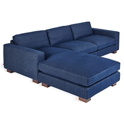 Gus* Modern Parkdale Contemporary Bi-Sectional in Wasehd Denim Indigo Fabric Upholstery with Solid Wood Feet