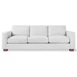 Gus* Modern Parkdale Contemporary Sofa in Beige Cambie Parchment Fabric Upholstery with Solid Wood Block Feet