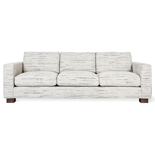 Gus* Modern Parkdale Contemporary Sofa in Charcoal Luna Pearl Fabric Upholstery with Wood Block Feet
