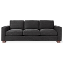 Gus* Modern Parkdale Contemporary Sofa in Charcoal Vintage Mineral Fabric Upholstery with Wood Block Feet
