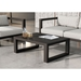 Modloft Parson Modern Coffee Table in Dark Eucalyptus Wood - Lifestyle
