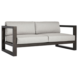 Modloft Parson Modern Outdoor Sofa in Dark Eucalyptus Wood and Feather Gray Fabric