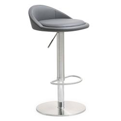Pascal Gray Adjustable Contemporary Stool