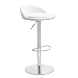 Pascal White Adjustable Contemporary Stool