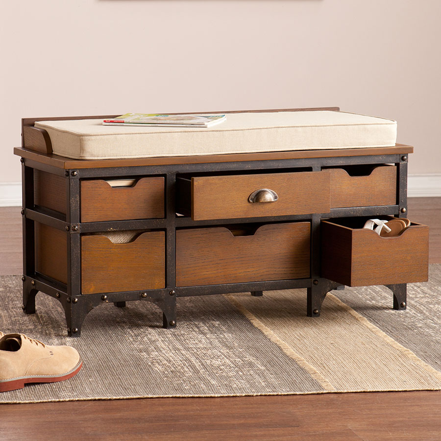 patsy contemporary storage bench  collectic home -  patsy contemporary storage bench room open
