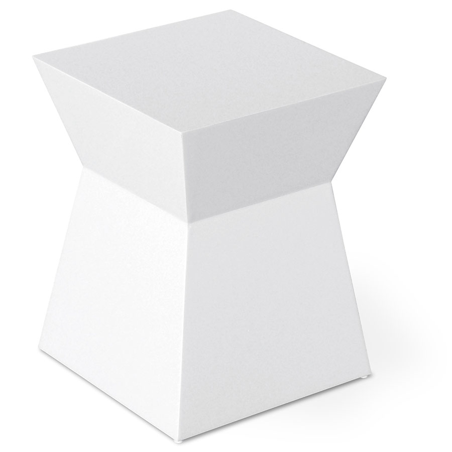 Pawn Stool/End Table | White Lacquer