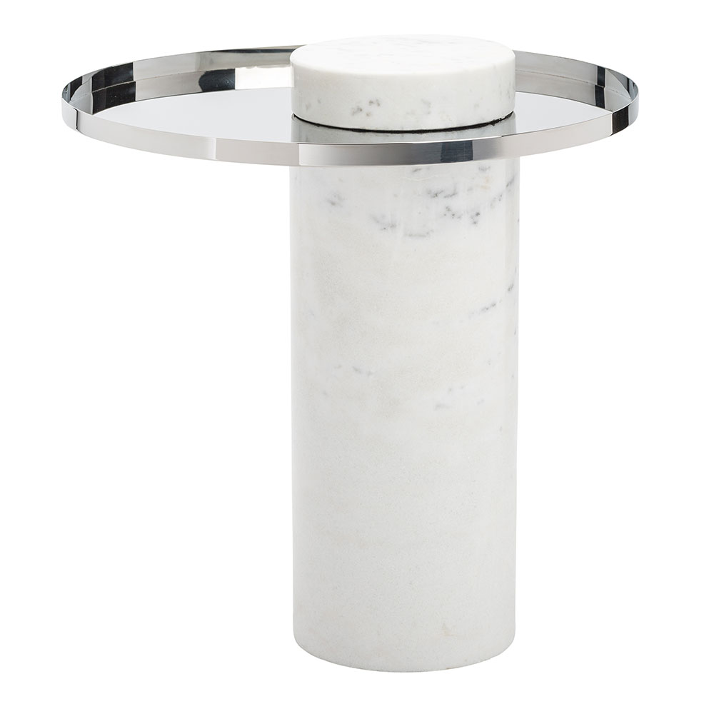 Pearland Polished Steel + White Marble Contemporary End Table