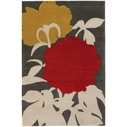 Peony 5x8 Rug in Red