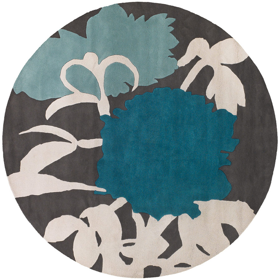 Peony Round Rug In Blue