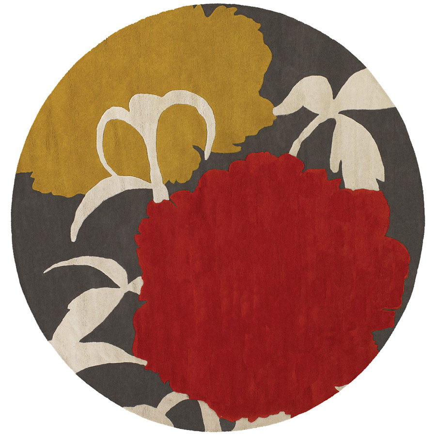 Peony Round Rug in Red