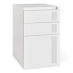 Gus* Modern Perf White Steel Contemporary File Cabinet