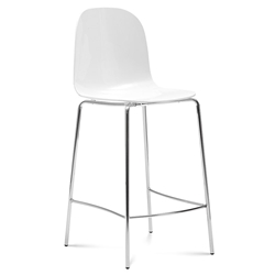 Plato White Modern Counter Stool