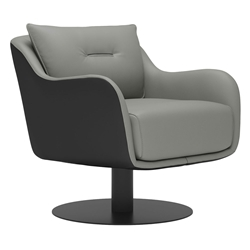 Modloft Black Platt Warm Gray + Graphite Modern Leather Swivel Lounge Chair