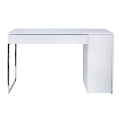 Prado White + Chrome Contemporary Desk by TemaHome