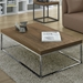Prairie Walnut + Chrome Contemporary Coffee Table