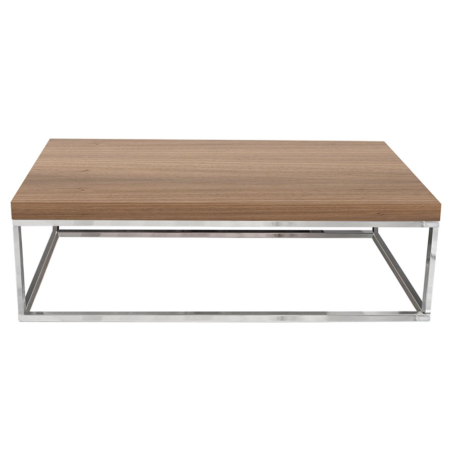Prairie Walnut Chrome Modern Coffee Table Eurway