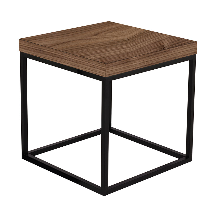 Charmant Prairie Walnut + Black Square Modern Side Table