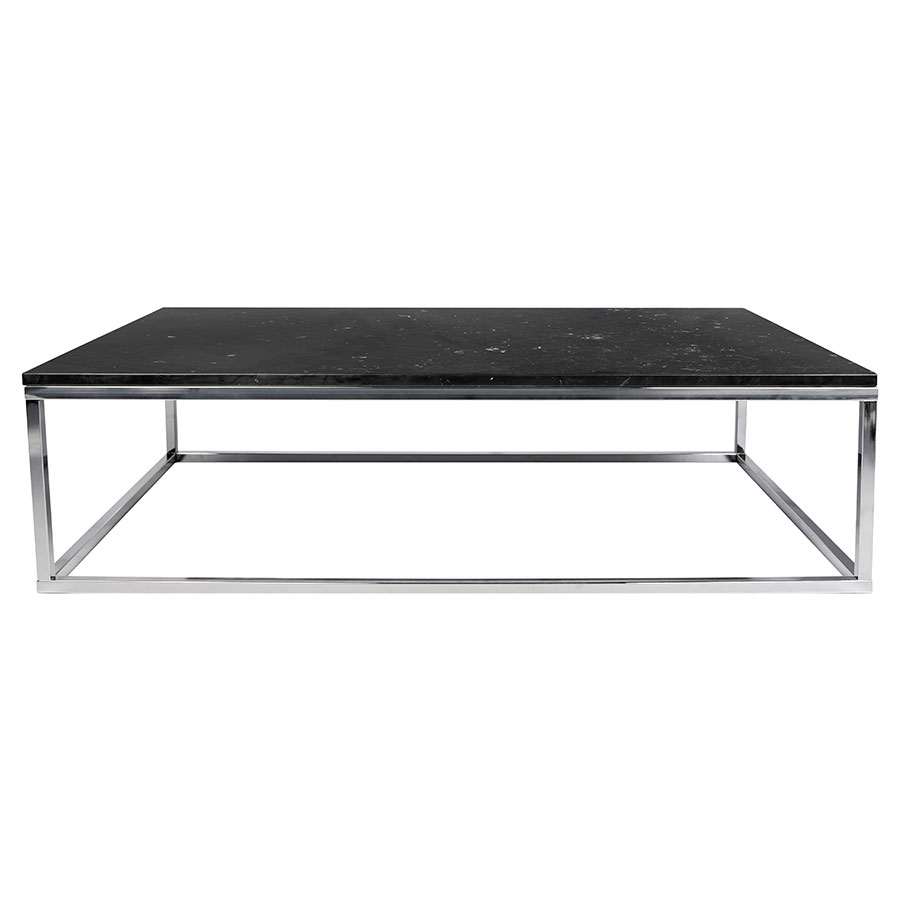 Prairie Black Chrome Marble Contemporary Coffee Table Front