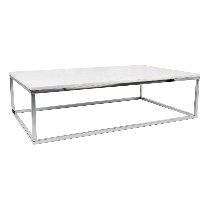Prairie White + Chrome Marble Contemporary Coffee Table by TemaHome