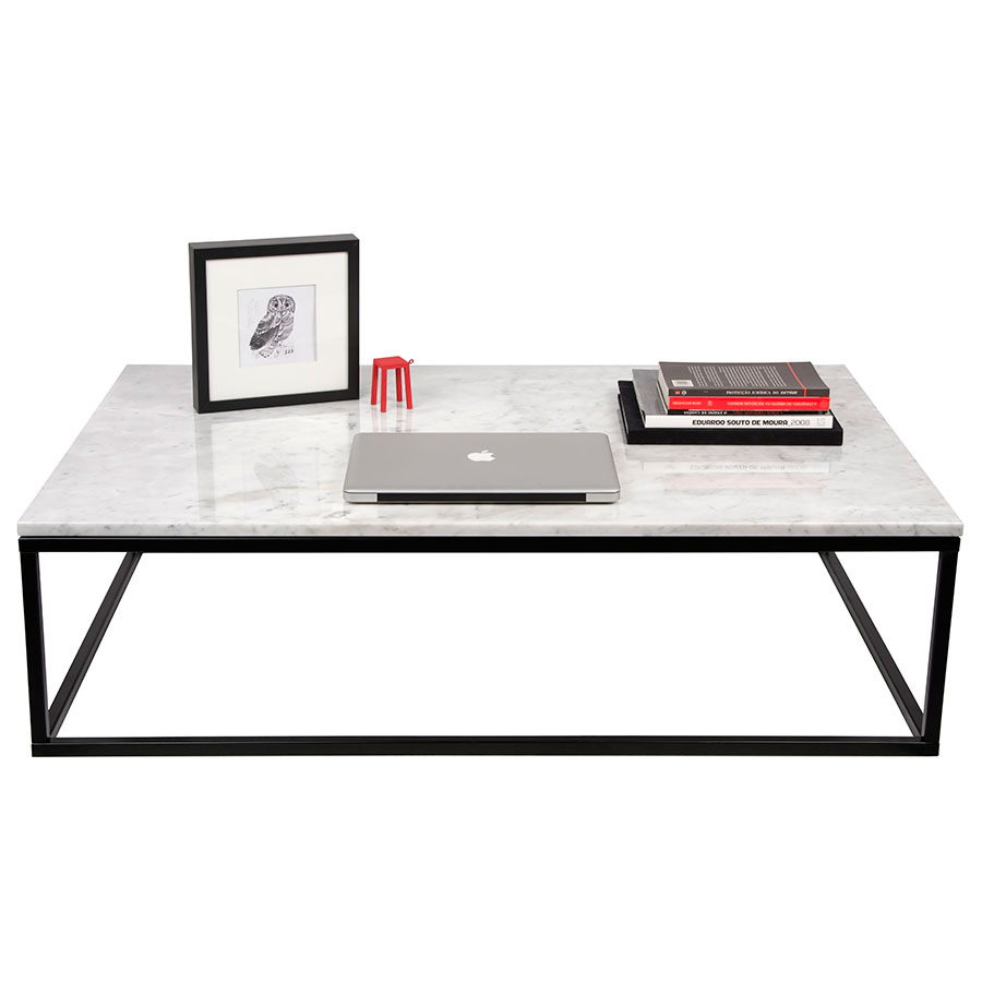 ... Prairie White Marble Contemporary Coffee Table Dressed