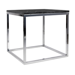Prairie Black + Chrome Marble Contemporary End Table by TemaHome