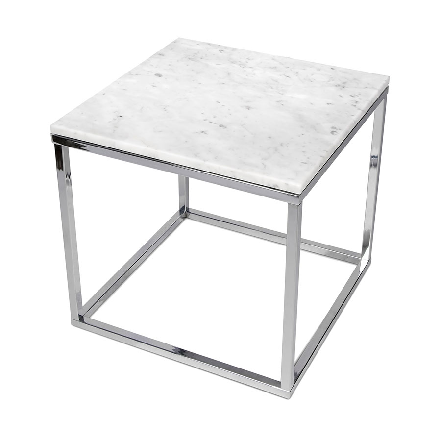 Awesome ... Prairie White + Chrome Marble Contemporary End Table Up ...