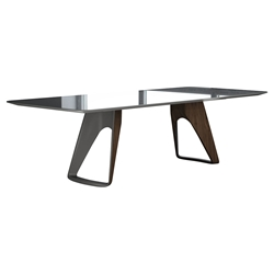 Modloft Black Preston Metallic Gray + Walnut Modern Dining Table