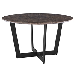 Quade Modern 51 in. Round Emperador Marble Dining Table