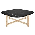 Gus* Modern Quarry Nero Marble + Ash Hardwood Contemporary Coffee Table