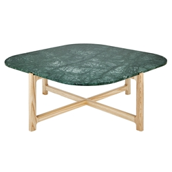 Gus* Modern Quarry Verde Marble + Ash Hardwood Contemporary Coffee Table