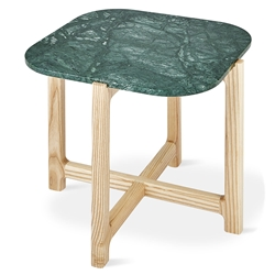 Gus* Modern Quarry Verde Marble + Ash Hardwood Contemporary End Table
