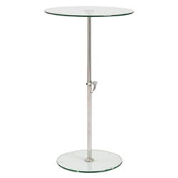 Rachel Adjustable Modern Side Table - Clear Glass