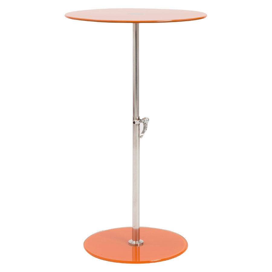 Radinka Adjustable Modern Side Table - Orange Glass