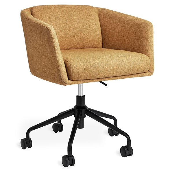 Gus* Modern Radius Modern Office Task Chair in Stockholm Camel Fabric with Black Powder Coated Steel Base - With Casters