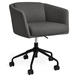 Gus* Modern Radius Modern Office Task Chair in Stockholm Graphite Fabric with Black Powder Coated Steel Base - With Casters