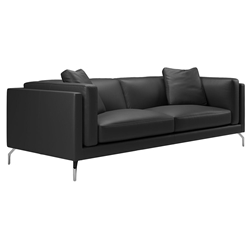 Modloft Black Reade Modern Sofa in Black Leather + Polished Steel