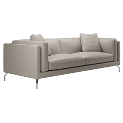 Modloft Black Reade Modern Sofa in Opala Leather with Angled Polished Steel Legs
