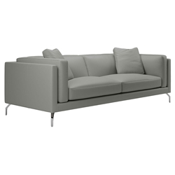 Modloft Black Reade Modern Sofa in Warm Gray Leather