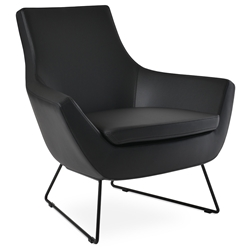 Rebecca Modern Arm Chair Black Leatherette + Black Wire Base